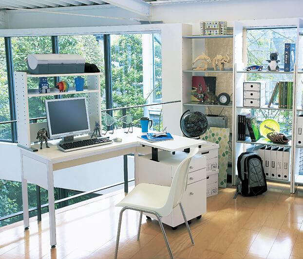 Garage パソコンデスク 幕板付き C2-106HM ホワイト