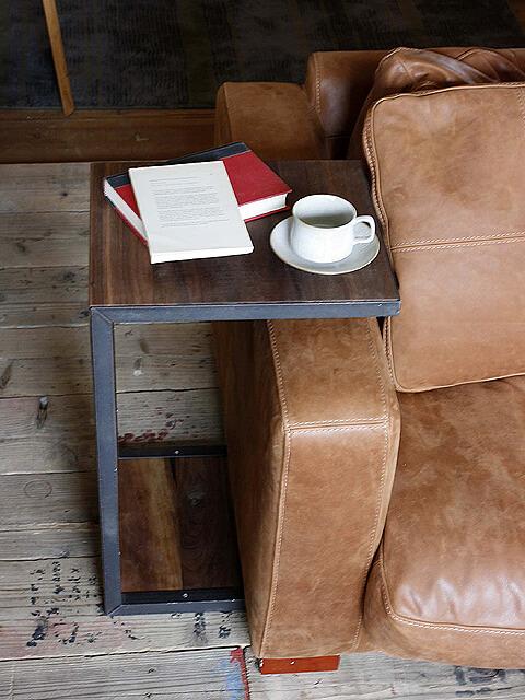 サイドテーブル【コの字型 sofa side table ウォールナット/2size 】